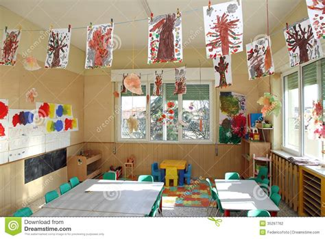 interior design how to kindergartenlassroom empty romania nursery class of children with many drawings of trees