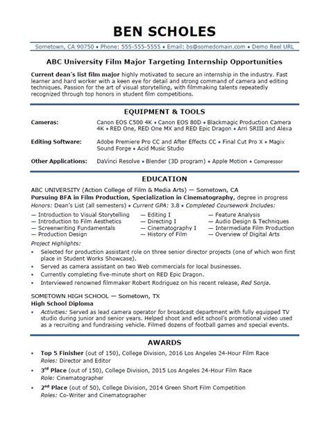 Resume For Internship by Internship Resume Sle