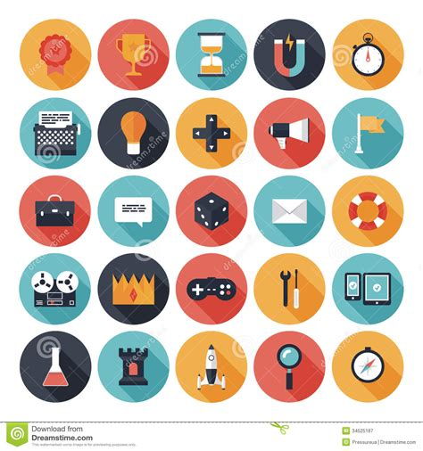 design icon game game design flat icons set royalty free stock photography