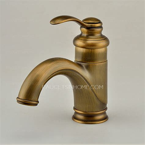 antique polished brass one hole bathroom sink faucet