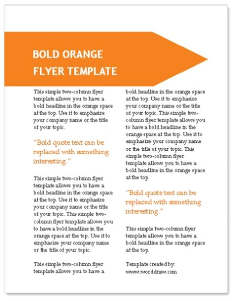 flyer template word worddraw orange flyer template for microsoft word