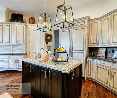Dark Wood Kitchen Island by Off White Cabinets With A Dark Wood Kitchen Island Omega