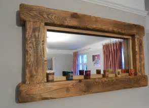 Wooden Bathroom Mirror With Shelf Chunky Rustic Reclaimed Wooden Mirror Tea Light Shelf Wall Furniture Storage In Home Furniture