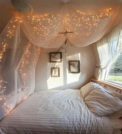 drapey christmas lights lights and sheer sheets make awesome bed canopy home bedroom
