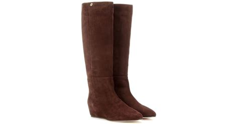 jimmy choo sue concealed wedge suede boots in brown