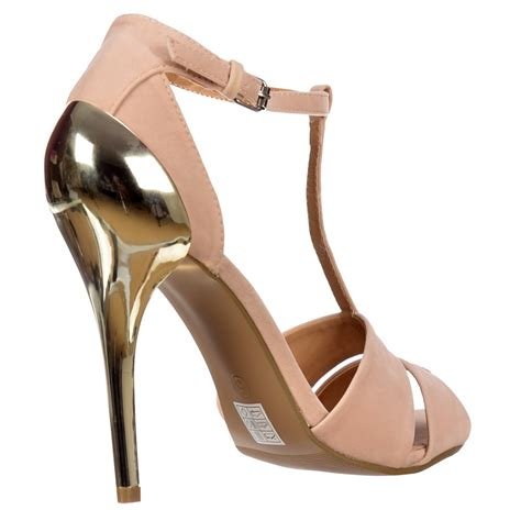 gold strappy mid heel sandals onlineshoe peep toe t bar mid heels gold heel strappy
