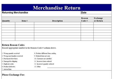 Merchandise Return Form Template return merchandise authorization form template