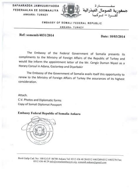 appointment letter honorary position turki wata basaboor diblomasi soomaali oo bulgaria qabatay