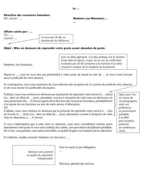 Exemple Lettre Mise En Demeure Abandon De Poste Modele Mise En Demeure Abandon De Poste Document
