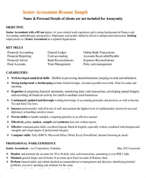 senior accountant resume sle pdf 25 printable accountant resume templates pdf doc free premium templates