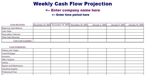 flow statement template excel 13 week flow statement