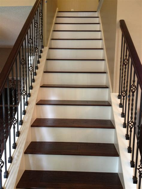 Metal Balusters For Staircases Iron Balusters At Stairs With Wood Treads