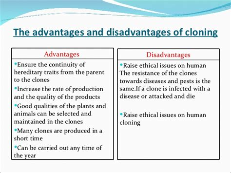Advantages And Disadvantages Of Cloning by 5 1 Mitosis