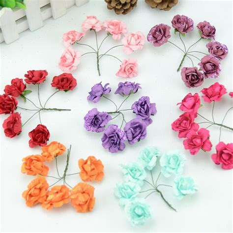 How To Make Mini Paper Flowers - aliexpress buy 6pcs lot 4cm mini paper flowers