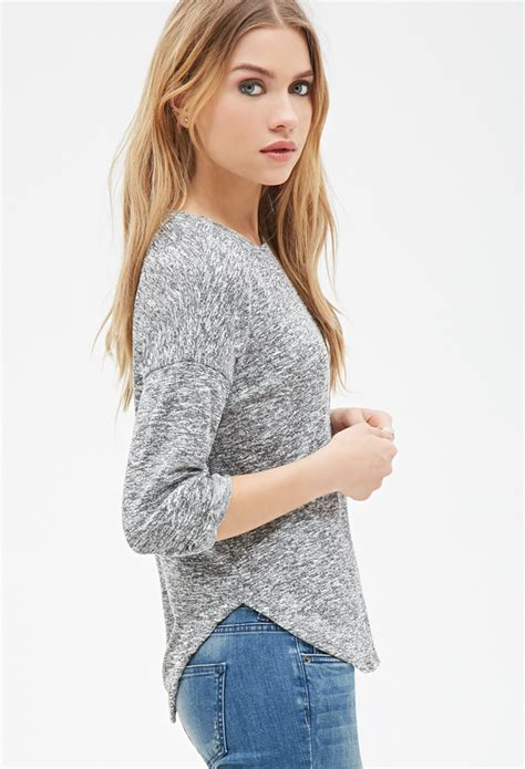 forever 21 knit top lyst forever 21 marled knit top in gray