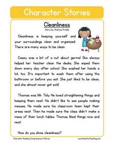 reading comprehension worksheet cleanliness