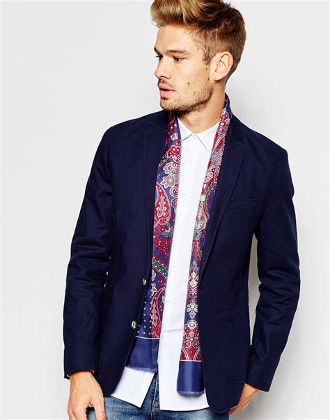 ted baker silk scarf in blue for lyst