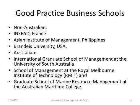 Sustainability Mba Australia by Sustainability Management Education India 2011
