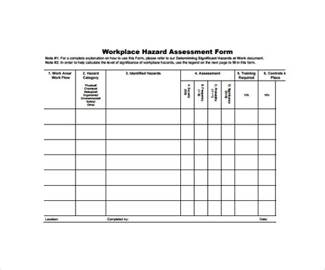 9 hazard assessment templates sle templates