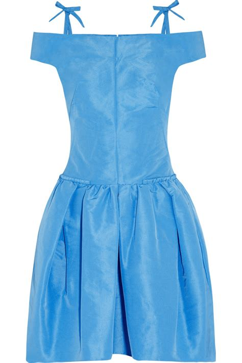 Blue Shoulder Dress 25059 carven the shoulder taffeta dress in blue turquoise