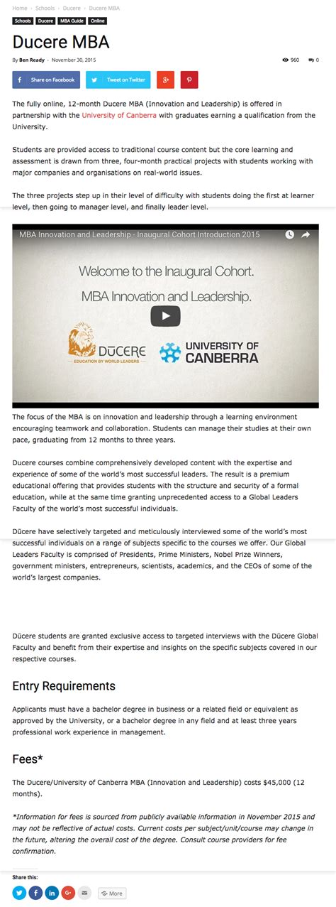 Mba In Innovation And Leadership by Ducere Mba Featured In Mba News Ducere Business School