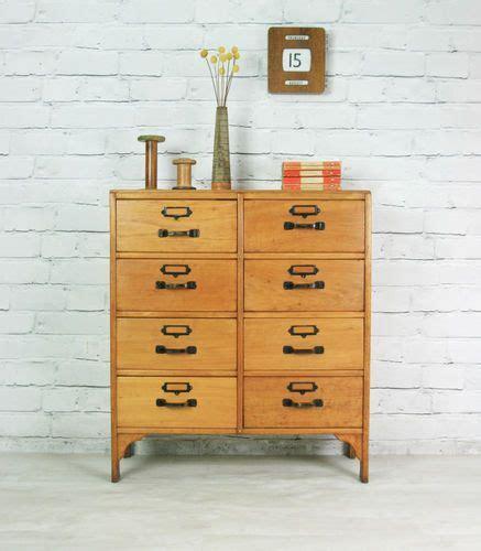 vintage industrial school oak beech mid century chest of