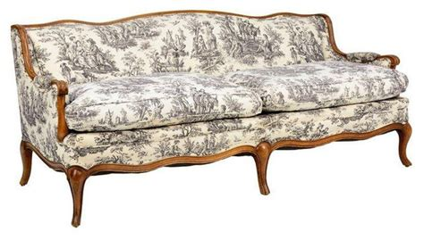 toile de jouy provincial style sofa transitional