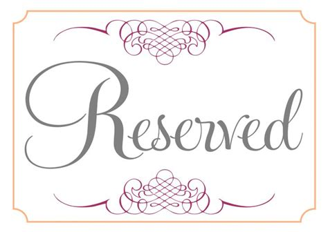 printable reserved signs fold over place card template best professional templates