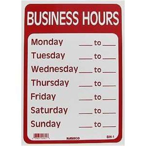 business hours template word open closed business hours sign 10 x 14 w numbers chain suction cup