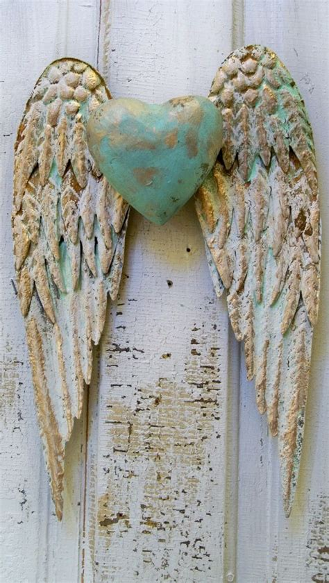 angel wings wall decor  heart white  gold shabby