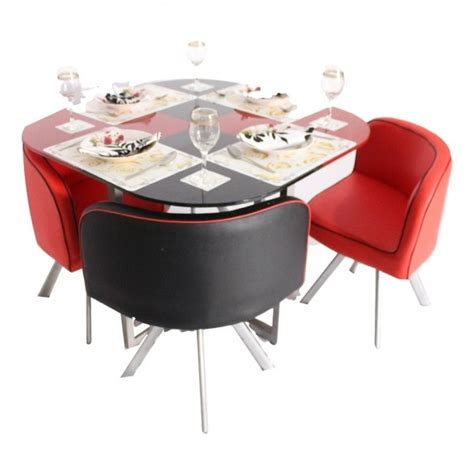 Compact Dining Table And Chair Sets Retro 4 Seater Glass Top Dining Set Woodys Furniture
