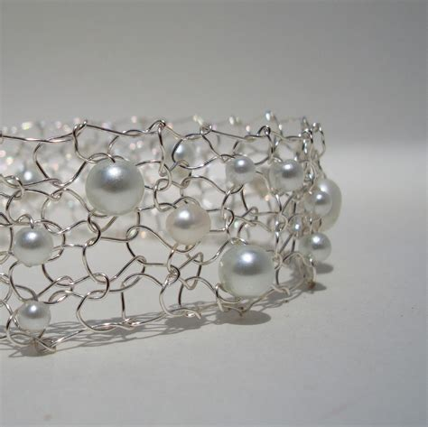 wire mesh for jewelry delicate wedding jewelry white pearl thin cuff