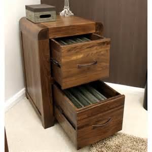shiro filing cabinet small two drawer solid walnut dark
