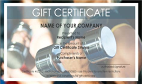 fitness gift card template personal gift certificate templates easy to use