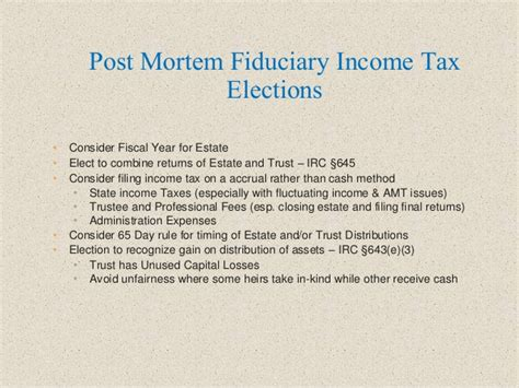 irc section 643 e 3 election pre and post mortem tax planning ideas