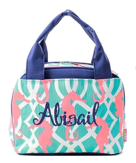 personalized monogram  insulated cooler lunch bag