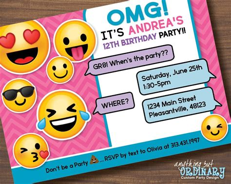 Printable Emoji Birthday Party Invite Girl S Emoji Emoji Birthday Invitation Template