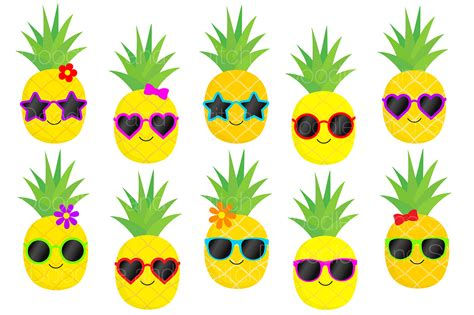 clipart pineapple funky pineapple clipart set by doodle art thehungryjpeg