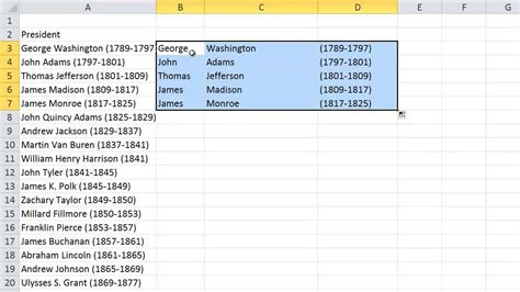 format excel last name first name pull first middle and last names from one cell into
