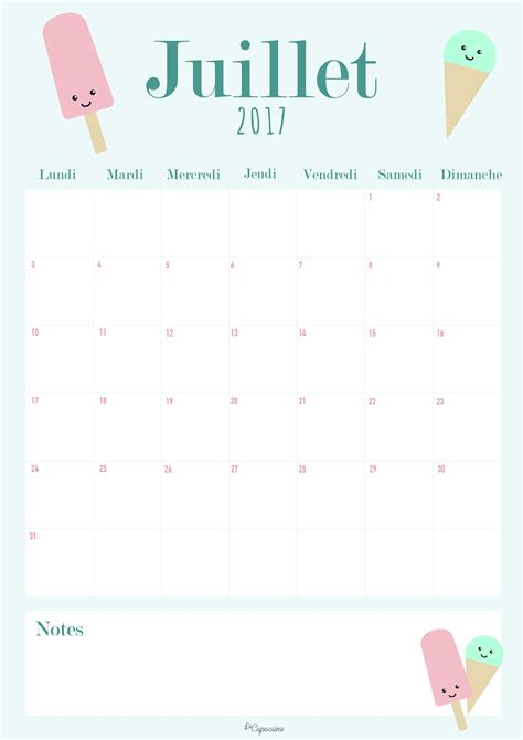 Calendrier Juillet Aout Calendrier Juillet 2017 La Capuciine