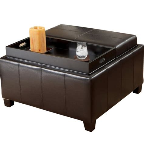 black leather ottoman with tray leather ottoman with tray home design ideas