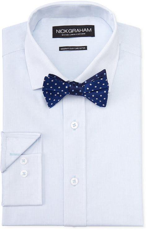Blue Dress Shirt Tie by Nick Graham Light Blue Micro Check Dress Shirt Navy Dot