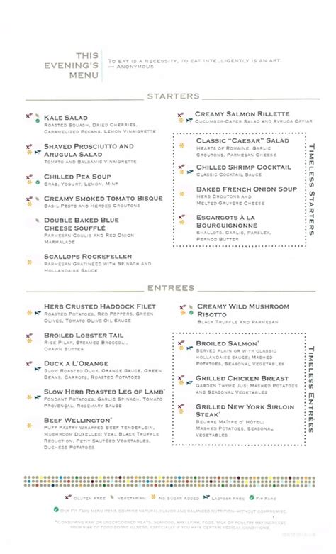 Reflection Dining Room Menu by Cruises Menus Dining Room Room Service And