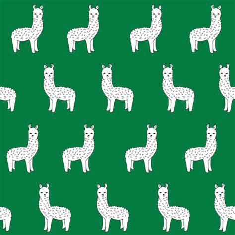 cute llama pattern alpacas green alpaca llama fabric cute hand drawn