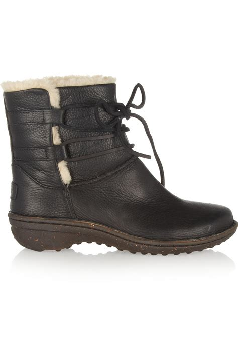 lace up ugg boots ugg caspia lace up leather ankle boots in black lyst