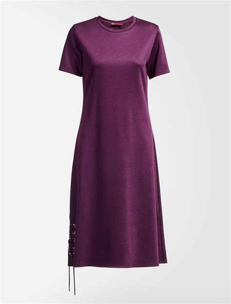 Dress Jersy viscose jersey dress wine coloured weekend max mara