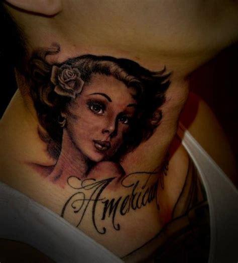 neck tattoo realistic portrait realistic neck tattoo by salt water tattoo