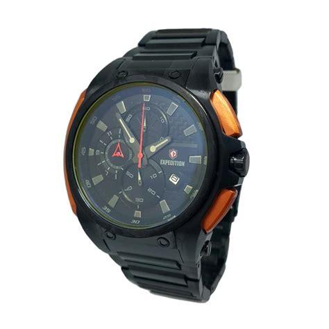 Jam Tangan Cowok Rantai Hitam jual expedition 140083 chronograph tali rantai jam tangan pria hitam merah bata harga