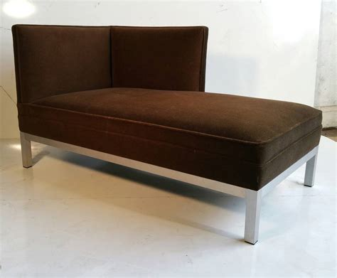 modernist aluminum and velvet chaise lounge for at