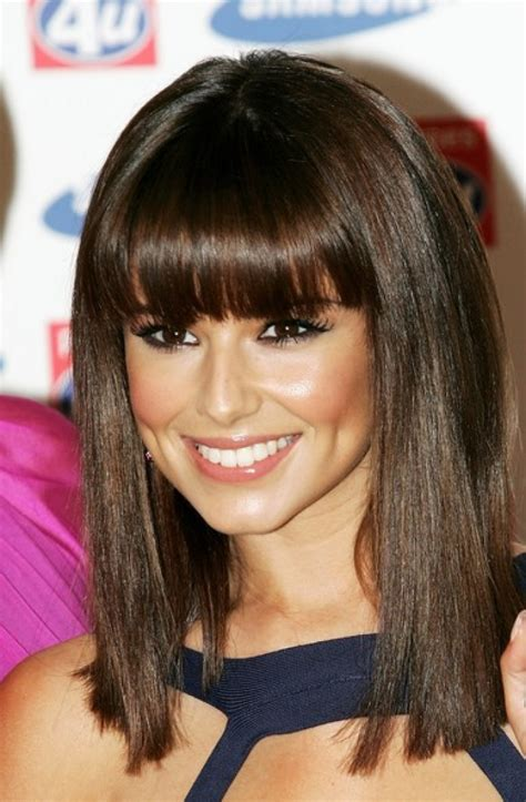 blunt cut bangs with medium length hair best and beautiful shoulder length hairstyles 2013